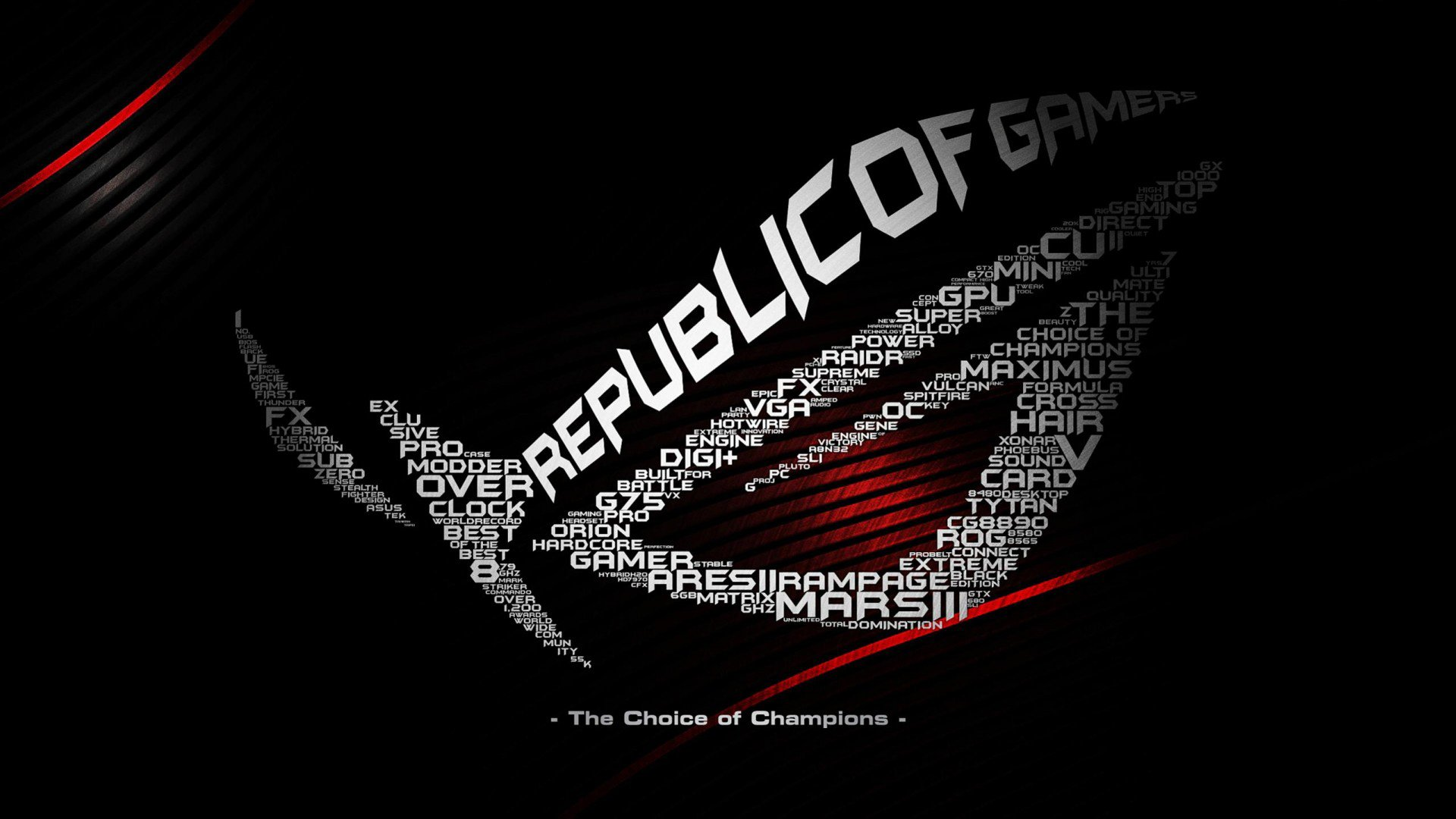 ASUS computer rog gamer republic gaming wallpaper background 1920x1080