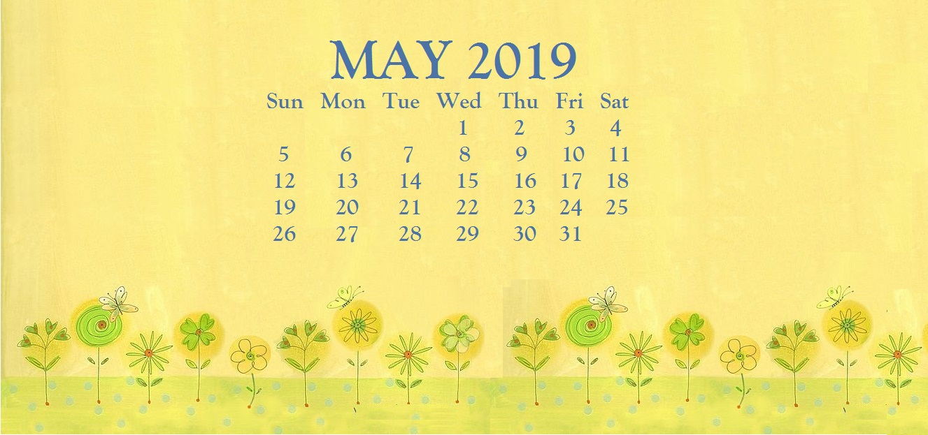 Floral Cute May 2019 Calendar Printable Template for Desk and Wall 1327x623