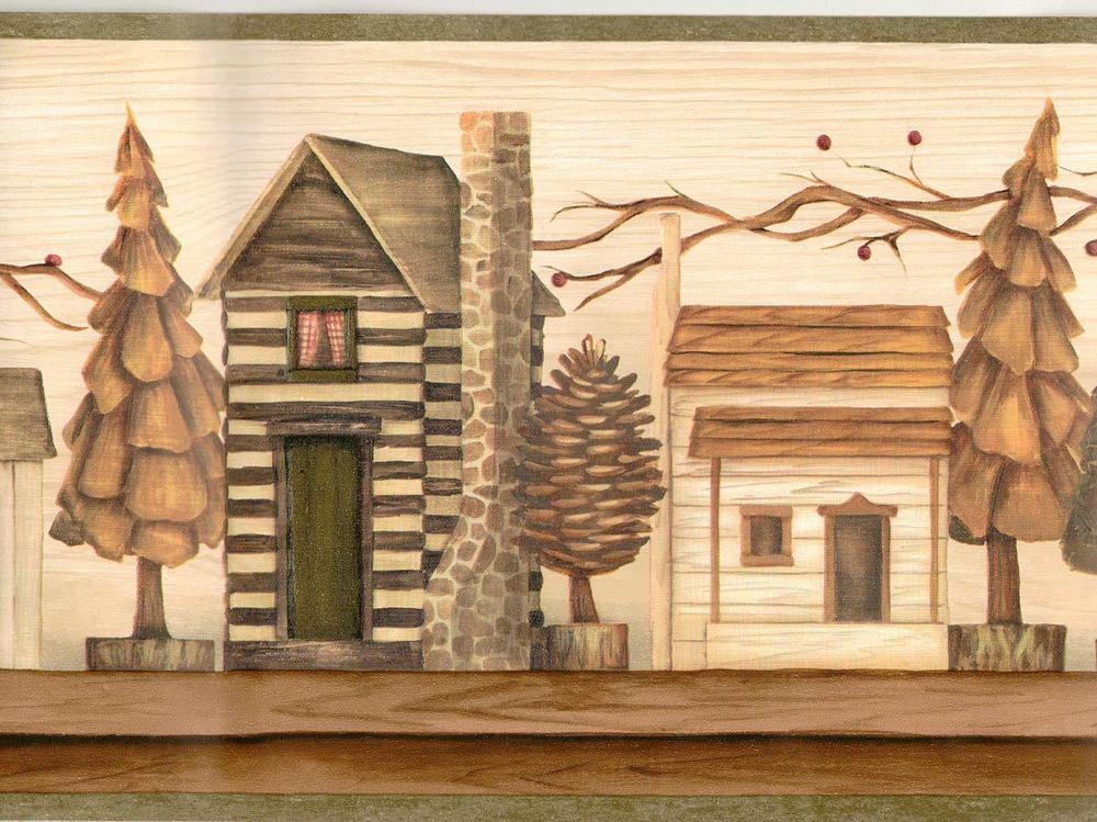 Rustic Log Cabin Models on Shelf Sale 8 95 Wallpaper Border 485 1000x749
