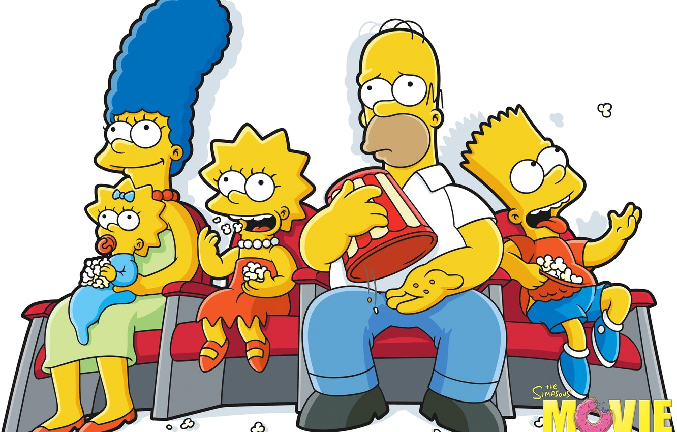 Wallpaper Maggie Simpsons Homer Lisa Marge Popcorn Bart 1332x850