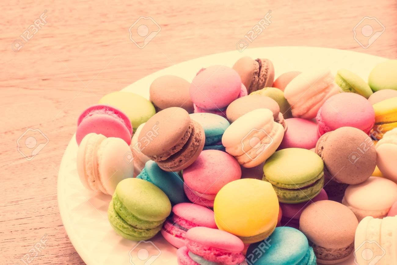 Traditional French Colorful Macarons Background Stock Photo 1300x870