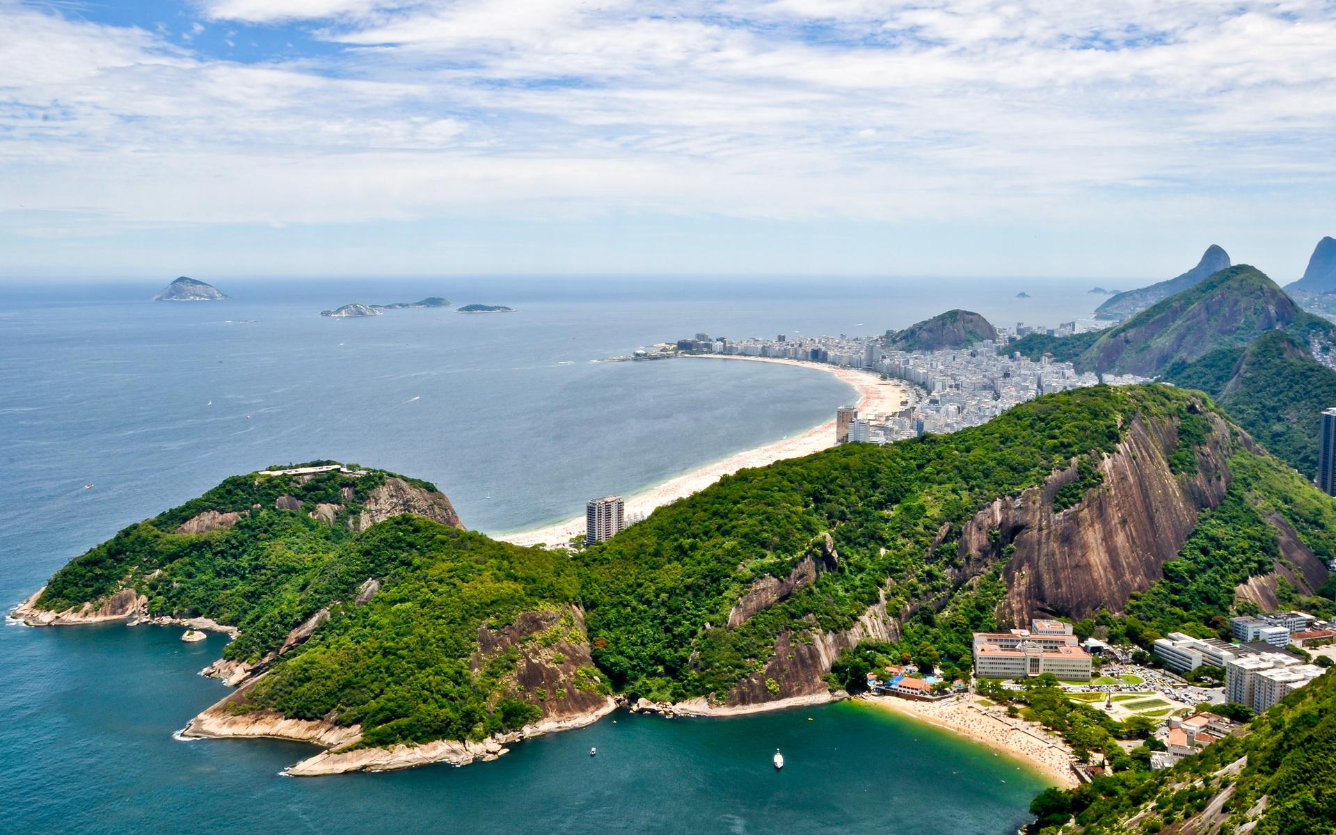 Rio De Janeiro City Within Mountains And Ocean Wallpaper 1920x1200