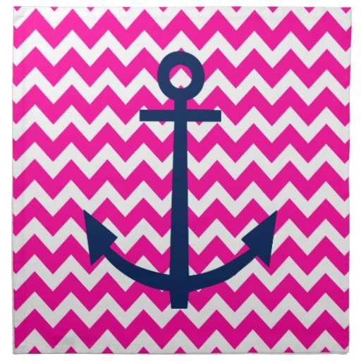 anchor chevron nautical pink and navy napkin 512x512