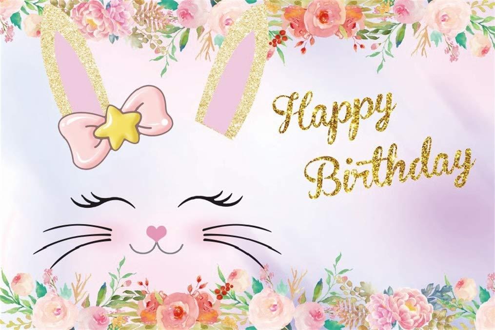 Amazoncom AOFOTO 10x7ft Happy Birthday Cute Bunny Background 1015x677