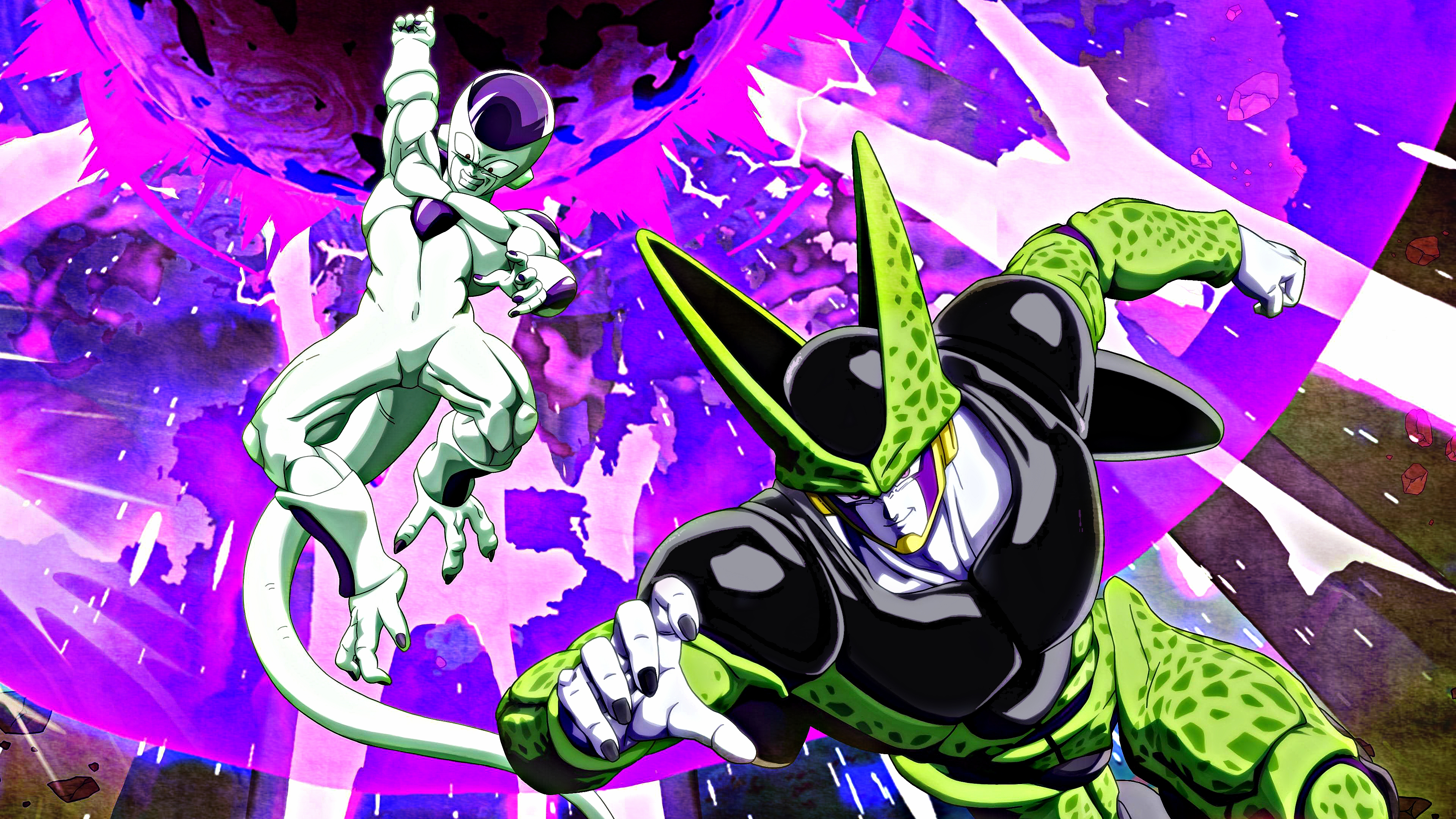 Frieza and Perfect Cell 4k Wallpaper dragonballfighterz 3840x2160