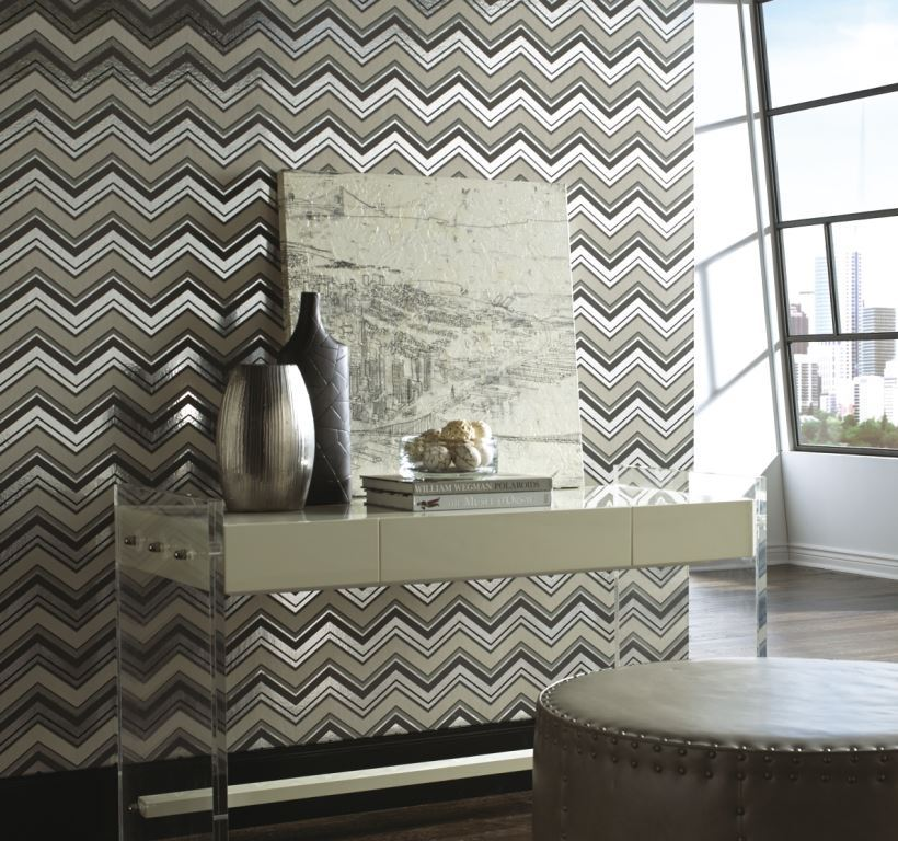 Black and White Chevron wallpaper on Carlisle Wide Plank Floors Canada 820x768