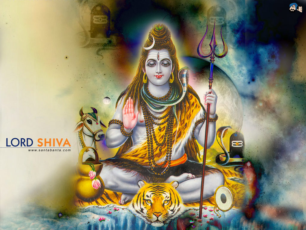 Lord Shiva Watching His Song Lord Ganesh Prayers 1024x768