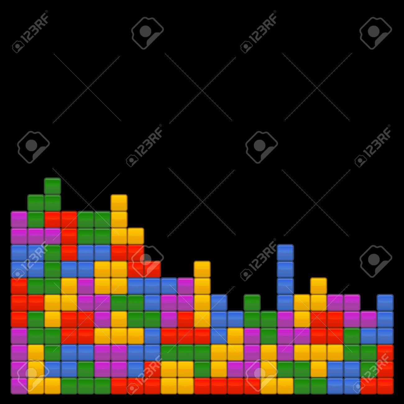 Game Brick Tetris Template On Black Background Vector 1300x1300