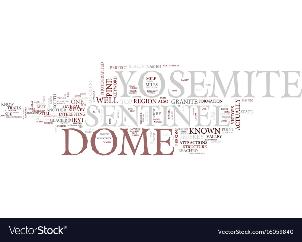 Yosemite sentinel text background word cloud Vector Image 1000x802