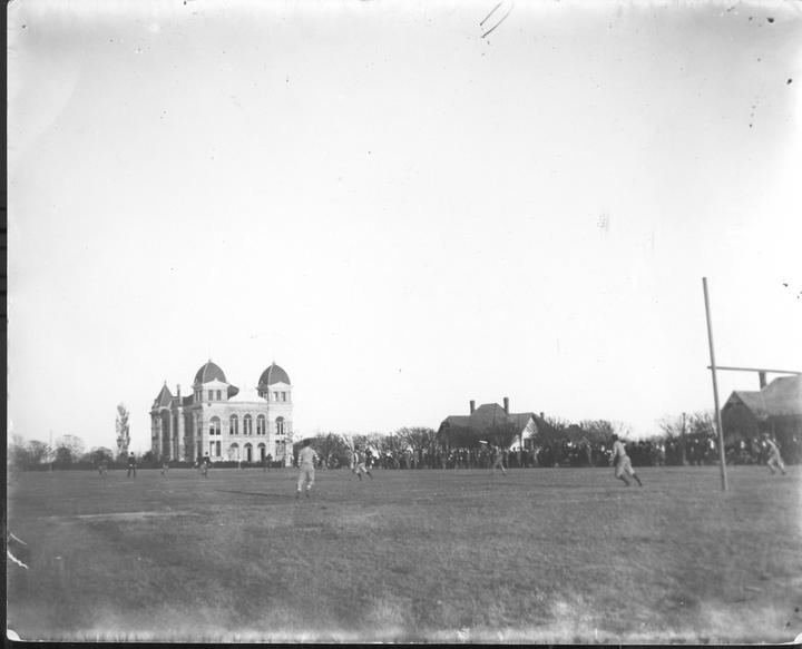 Texas AMC Football prior to Kyle Field Old Main in backgroundjpg 720x583
