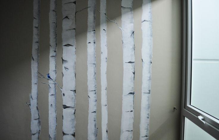 diy wallpaper   birch wall diy home decor Pinterest 736x471