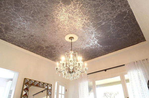 Calico Use wallpaper on the ceiling to reduce surface area but 600x397