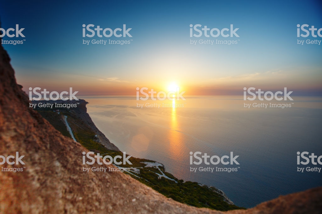 Sunset View From Mountaintop Tourism Travel Sea Background Stock 1024x682
