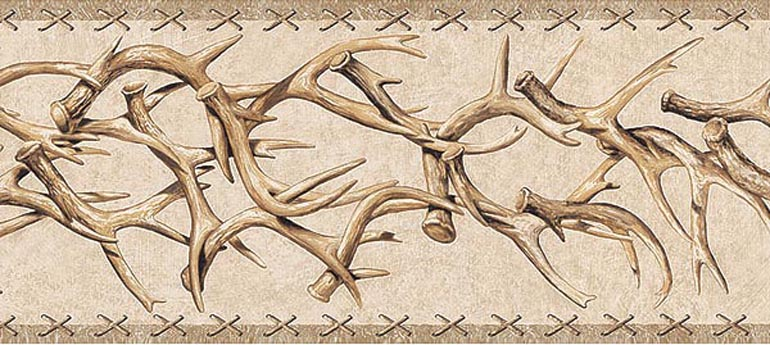 Details about WESTERN DEER ANTLERS Wallpaper Border TA39016B 770x345