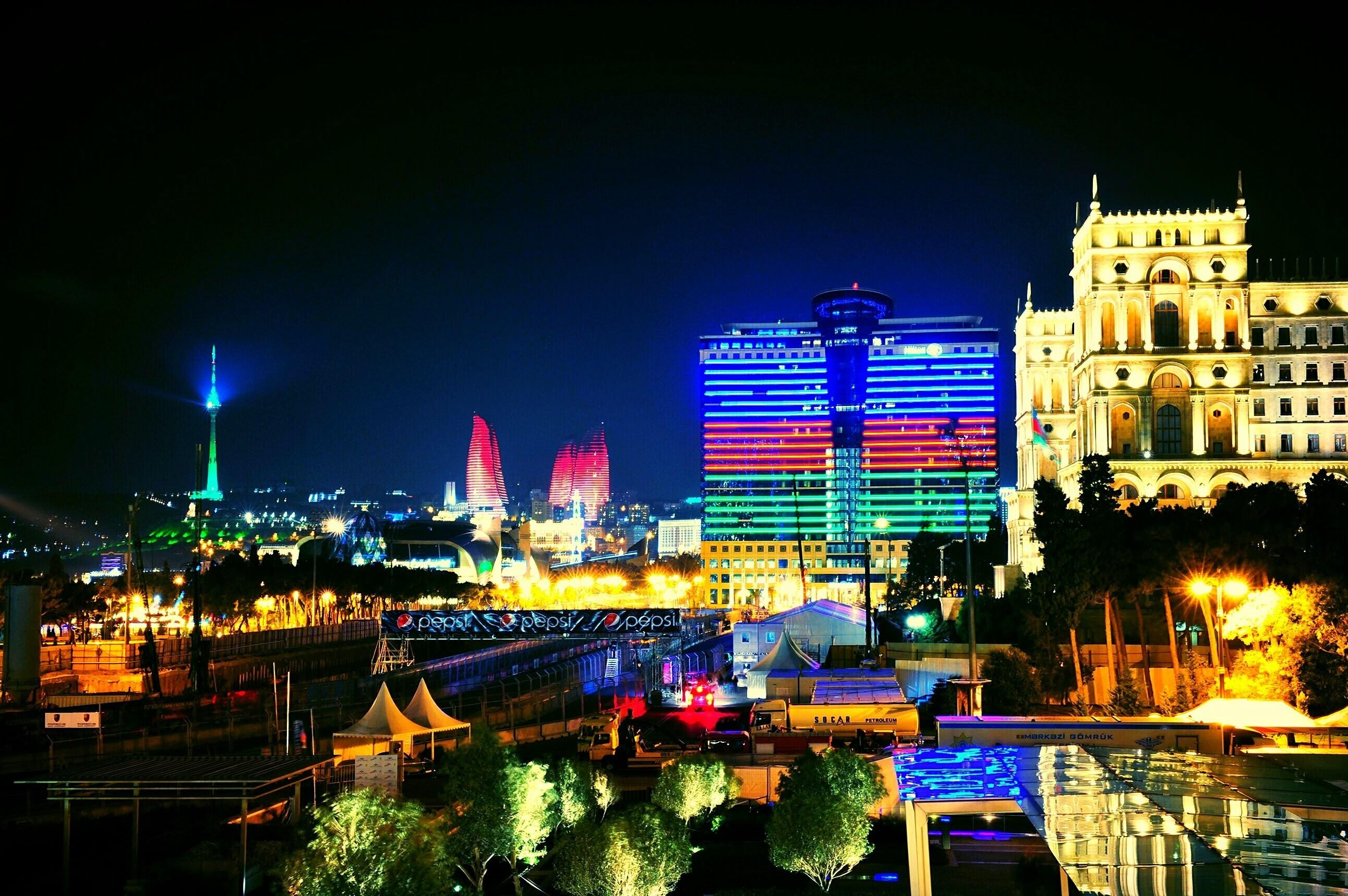 Wallpaper Azerbaijan Baku fires night City nature landscape 2584x1719