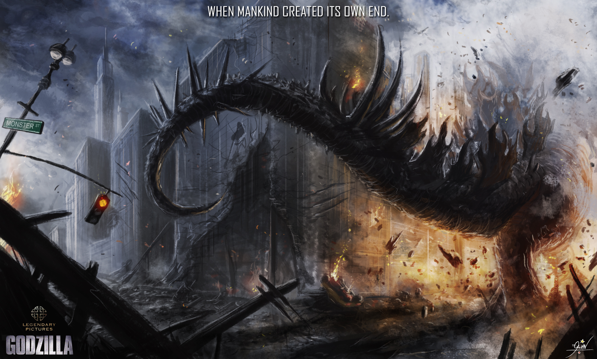 Godzilla 2014 Illustration Movie HD Wallpaper Godzilla 2014 2000x1203