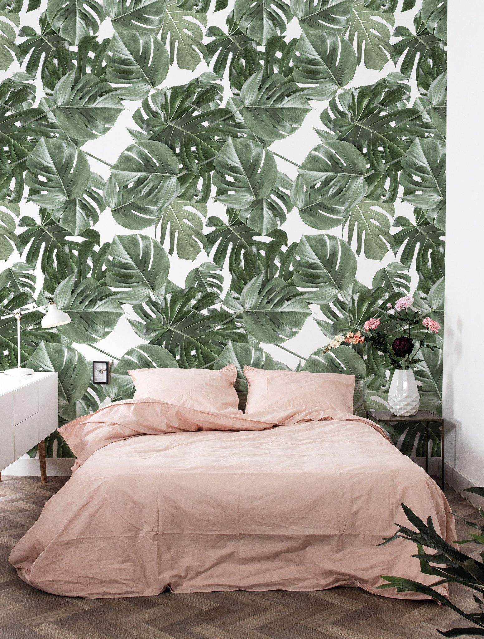 Botanical Wallpaper Monstera White by KEK Amsterdam BURKE DECOR 1553x2048
