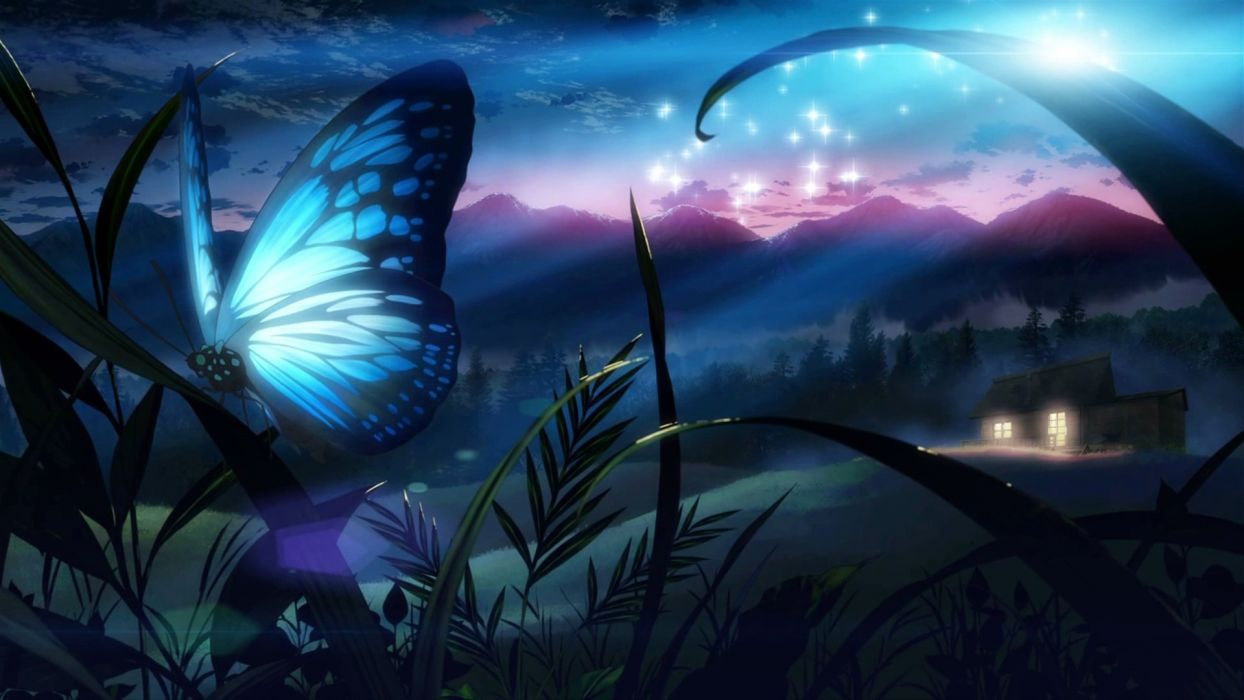 Butterfly eden grass night tree original fantasy wallpaper 1244x700