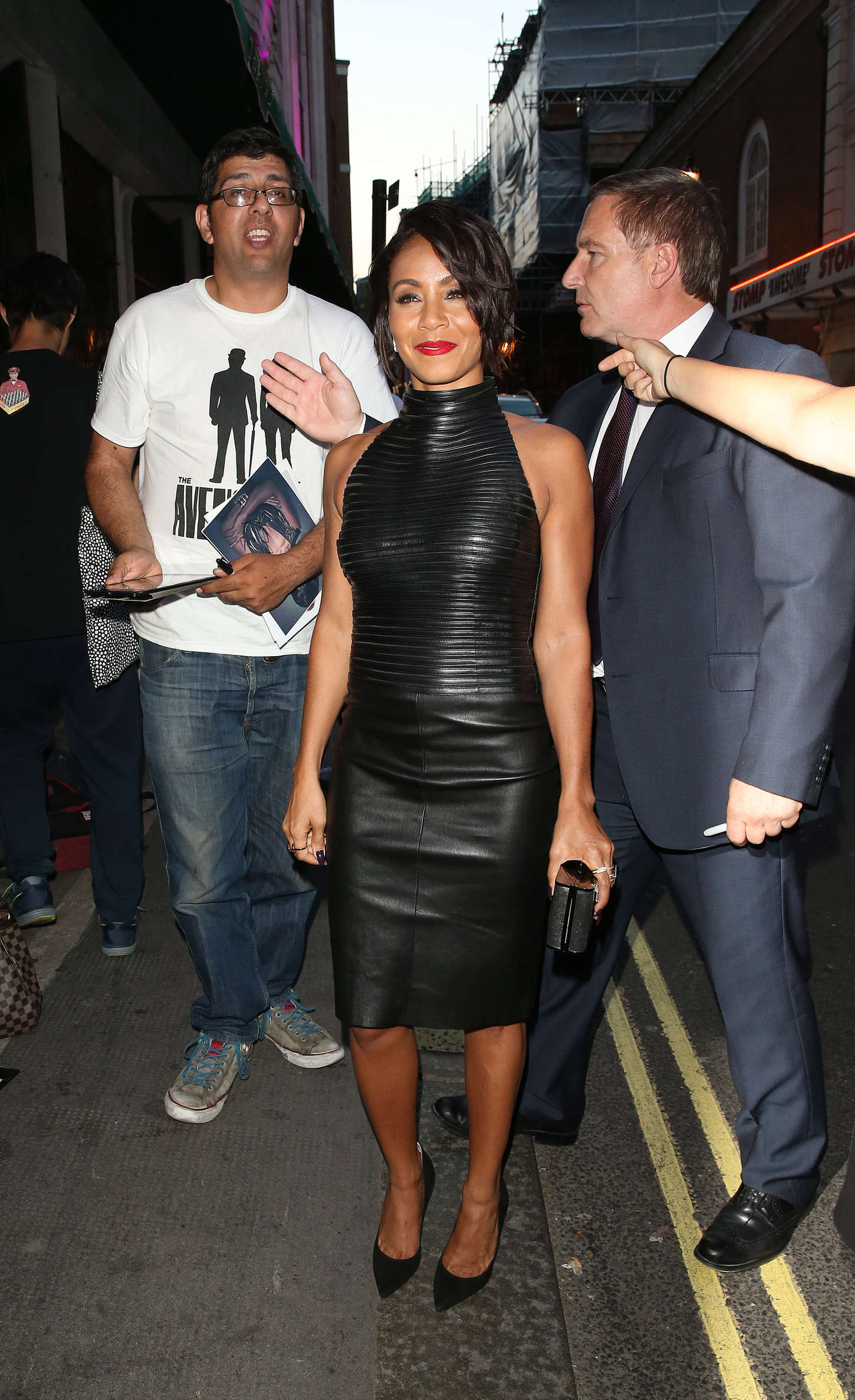 Jada Pinkett Smith in Leather Dress at The Ivy in London 1450x2373