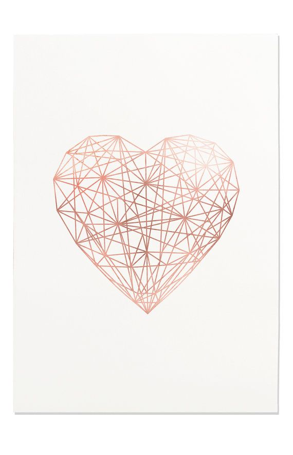 Rose Gold Geometric Heart Line Art Printable Wall Art Trending 570x886