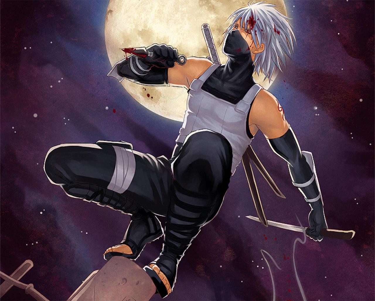 Anbu Kakashi Hatake Katana Kunai Blood Anime Konoha Ninja HD Wallpaper 1280x1027