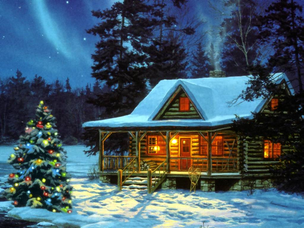 Christmas Cabin   Christmas Landscapes Wallpaper Image 1024x768