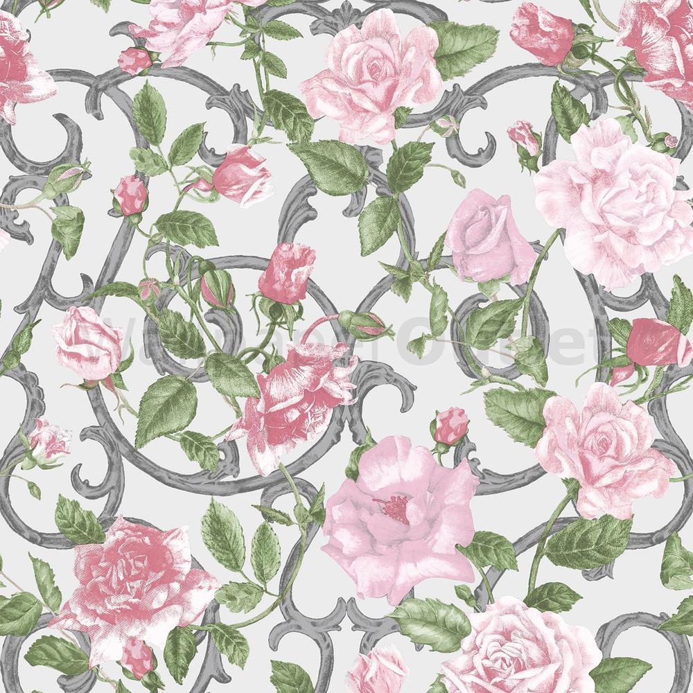 Pink Green Silver   Muriva Rose Trellis Wallpaper 135504 eBay 1000x1000