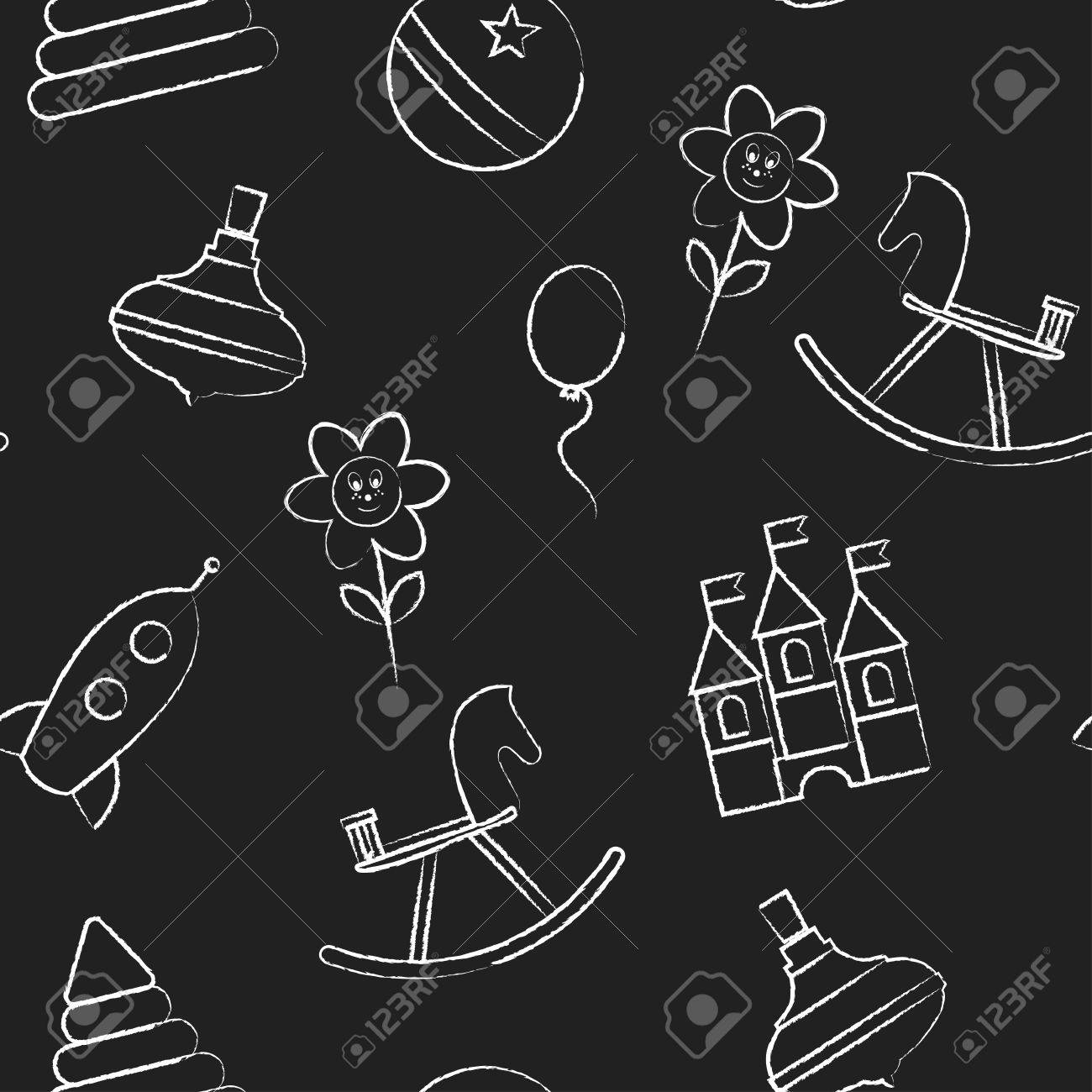 Seamless Pattern With White Childrens Chalk Drawings Jn Black 1300x1300