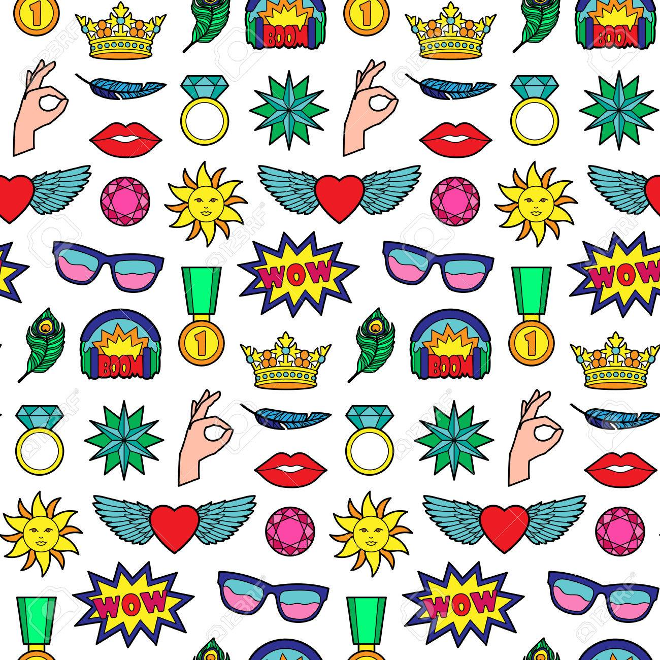 Seamless Pattern Of Fashion Patches Pin Badges Wallpaper 1300x1300