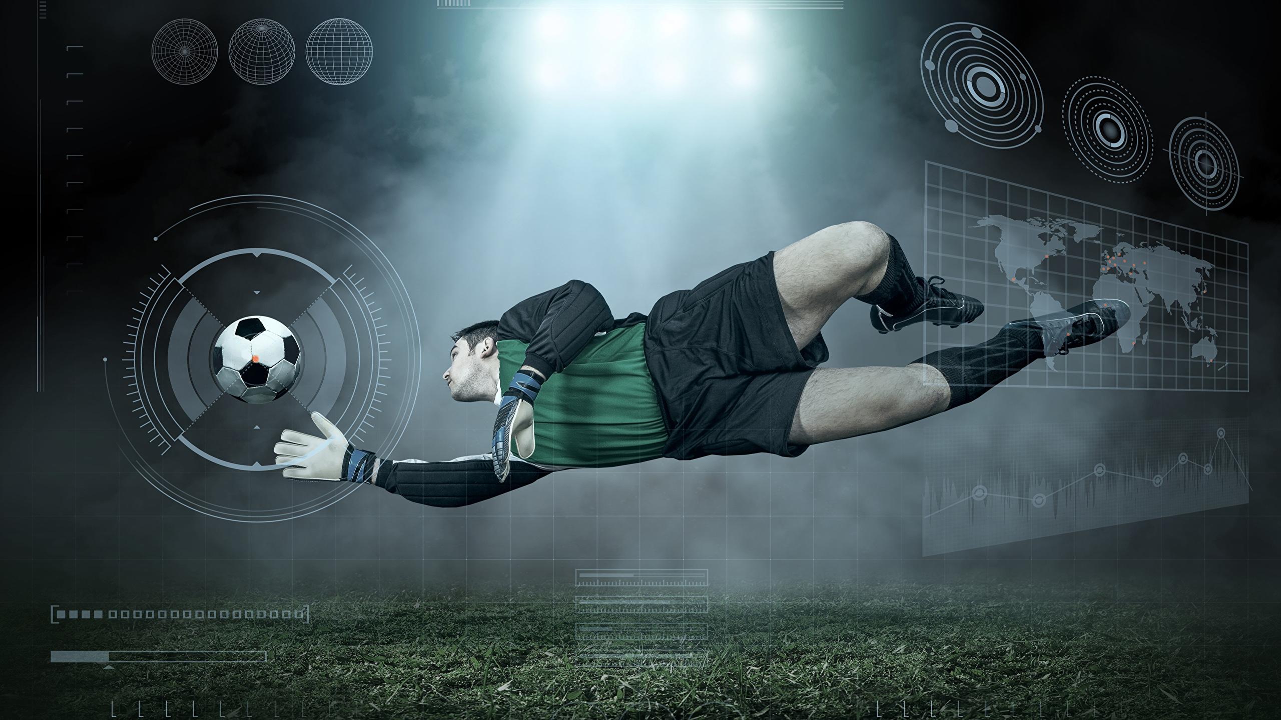 Pictures sports Man Jump Footbal Uniform Ball Goalkeeper 2560x1440 2560x1440
