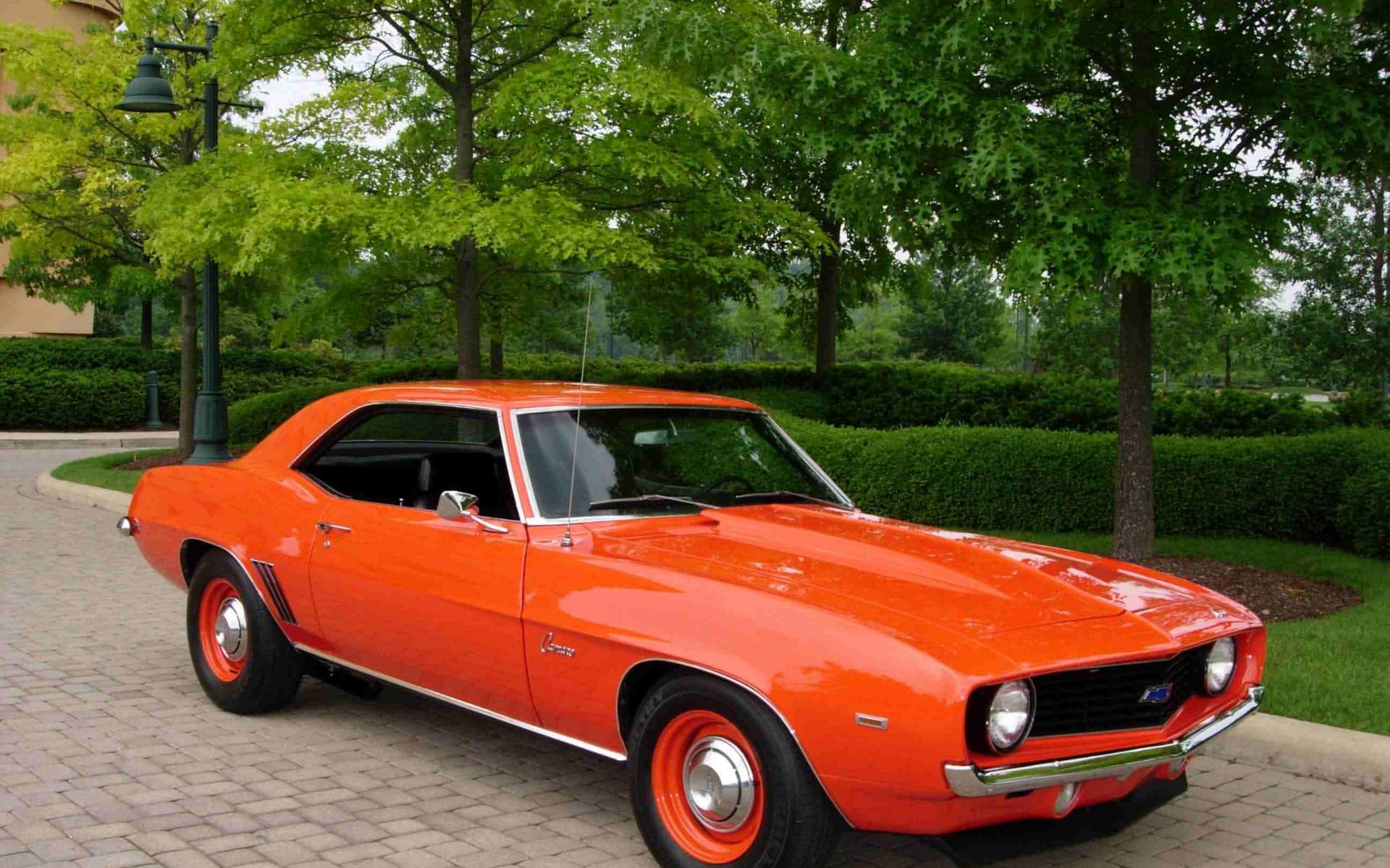 69 Chevy Camaro chevrolet orange vintage chevy 69 classic camaro 1920x1200