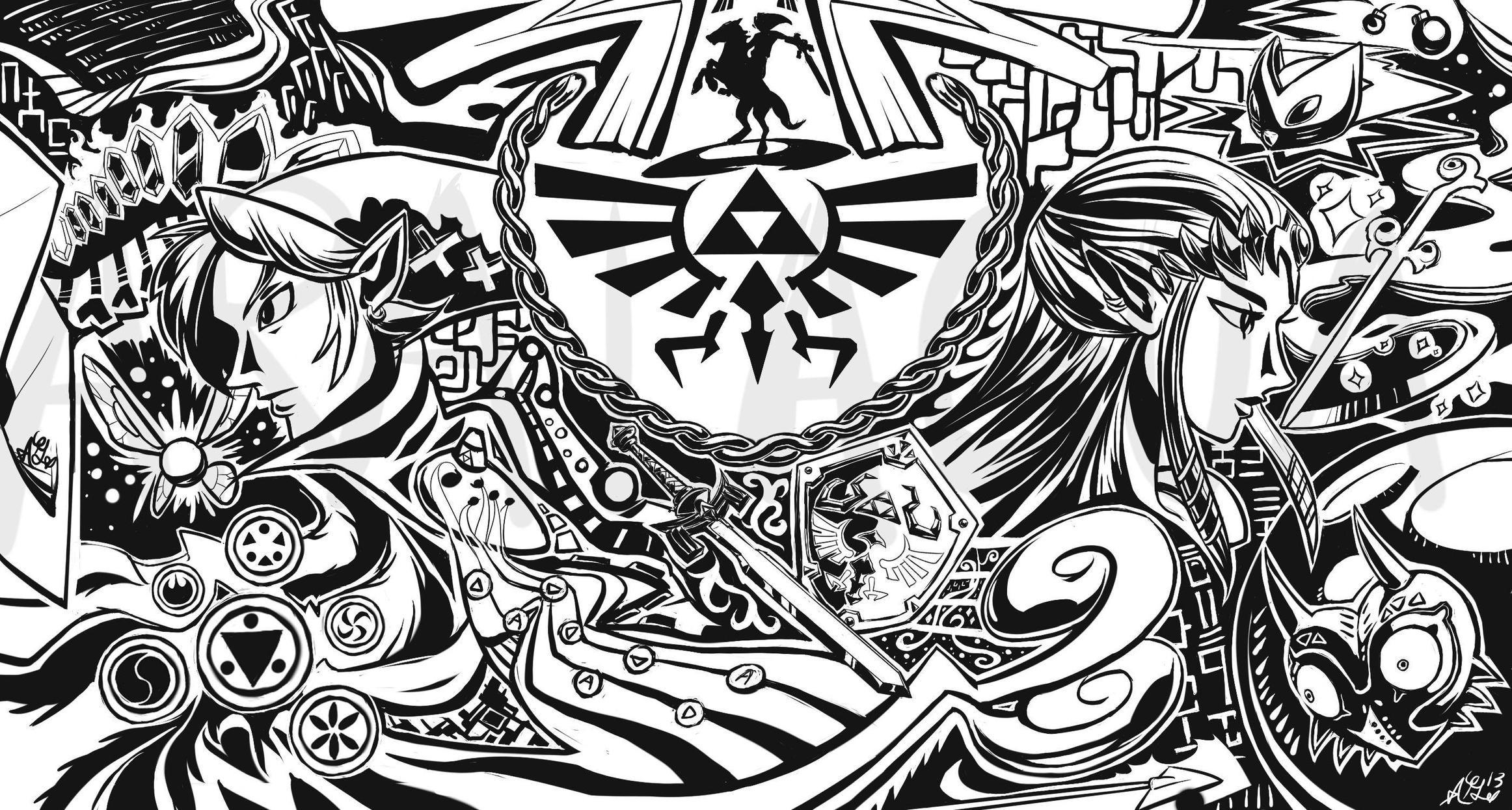 Link triforce Ocarina Of Time The Legend of Zelda Majoras Mask Navi 2324x1245