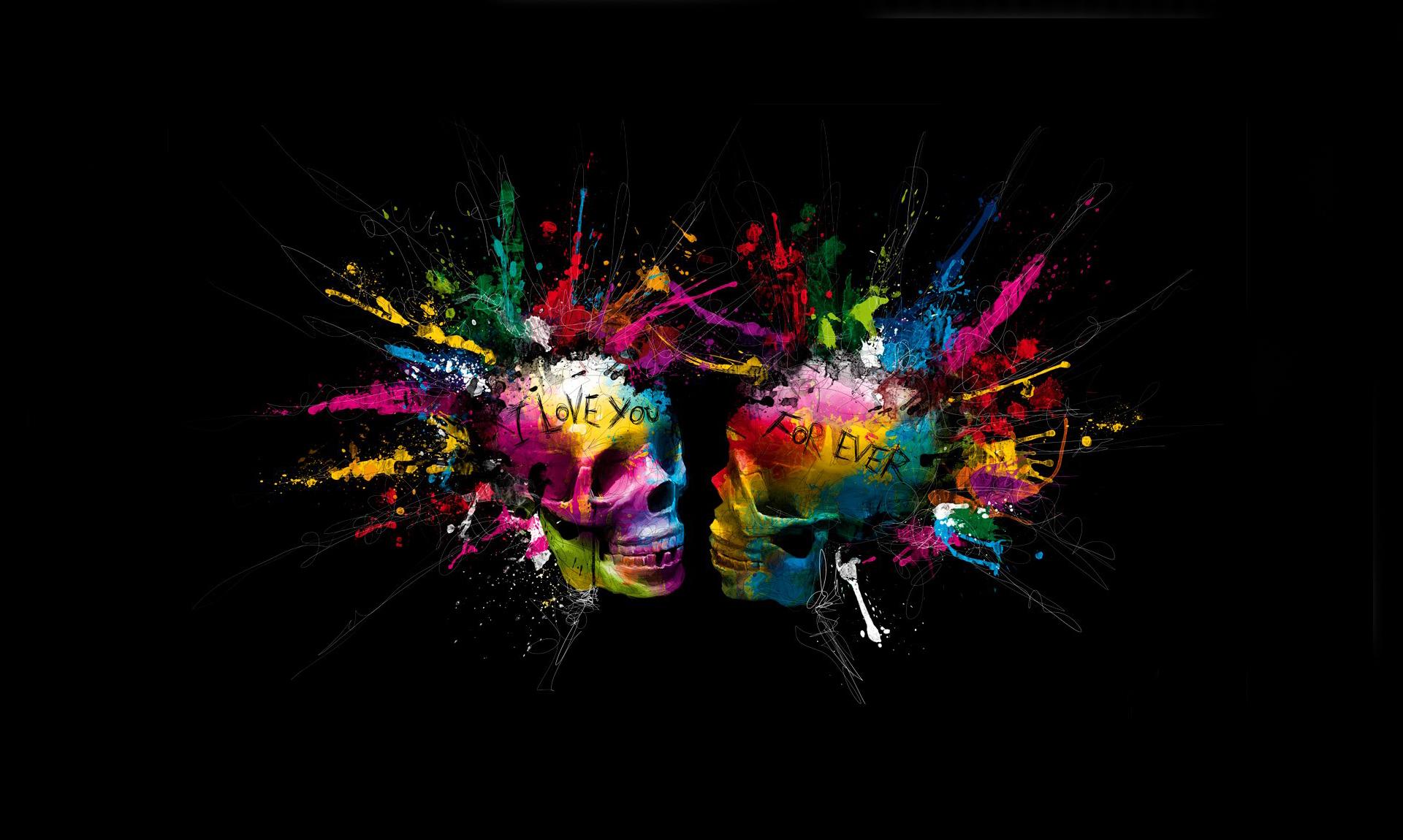 Wallpaper eternal love love forever skull spray bright colors 1920x1150