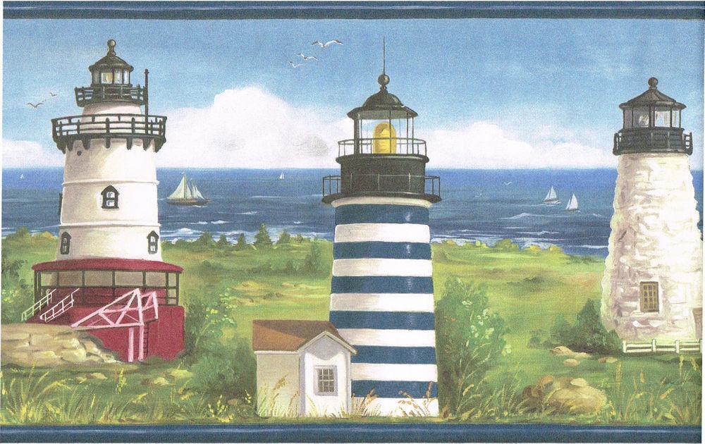 Coastline Beach Scene Sea Side Blue Trim Wall Paper Border eBay 1000x630