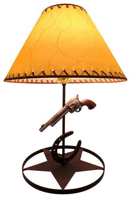 Western Themed Pistol and Horseshoe Metal lamp with Leather Look Shade 424x640