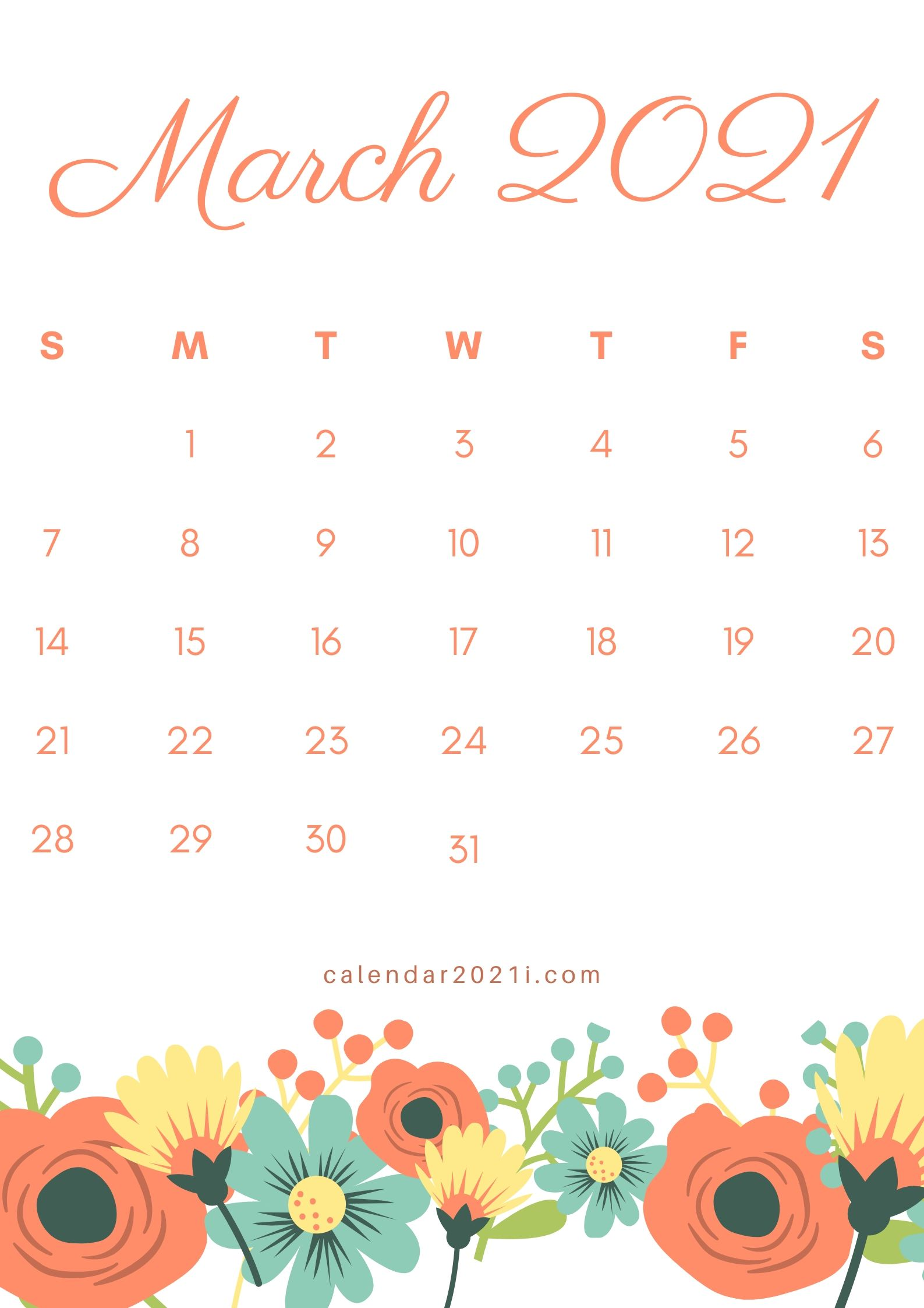 Floral March 2021 Calendar Printable Download Calendar 2021