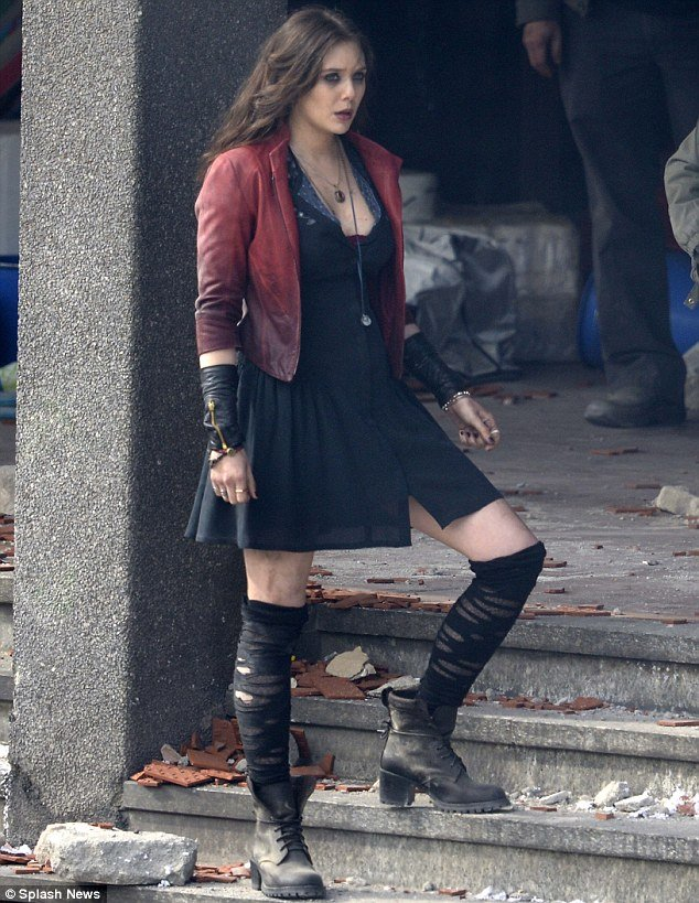 Superhero Elizabeth Olsen in her guise as the Scarlet Witch in sequel 634x819