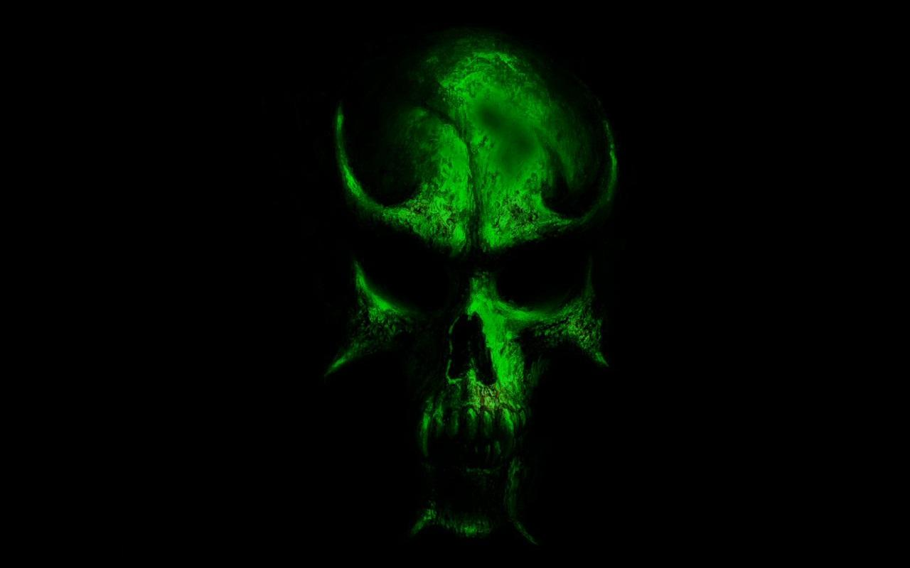Incredible Neon Skull Wallpaper: Green Skull Wallpaper
