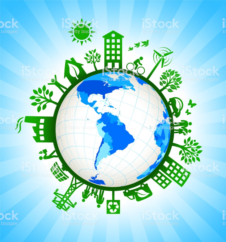 South America On Green Environmental Conservation Background Stock 959x1024