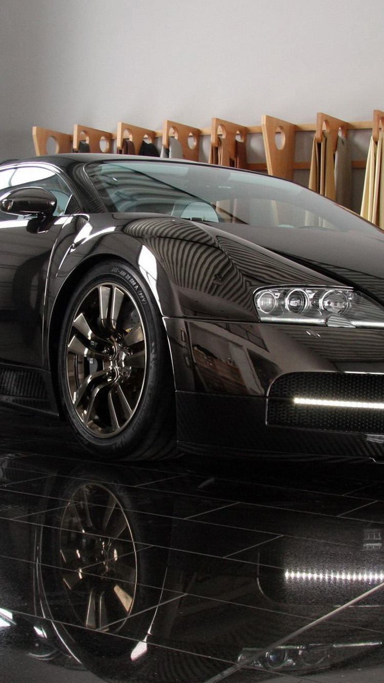 Black Bugatti lock screen HD iPhone 6 Wallpaper 750x1334