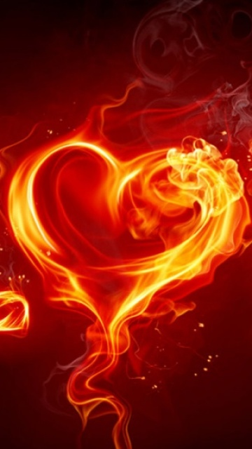 heart fire sony ericsson vivaz cell phone wallpaperjpg 360x640