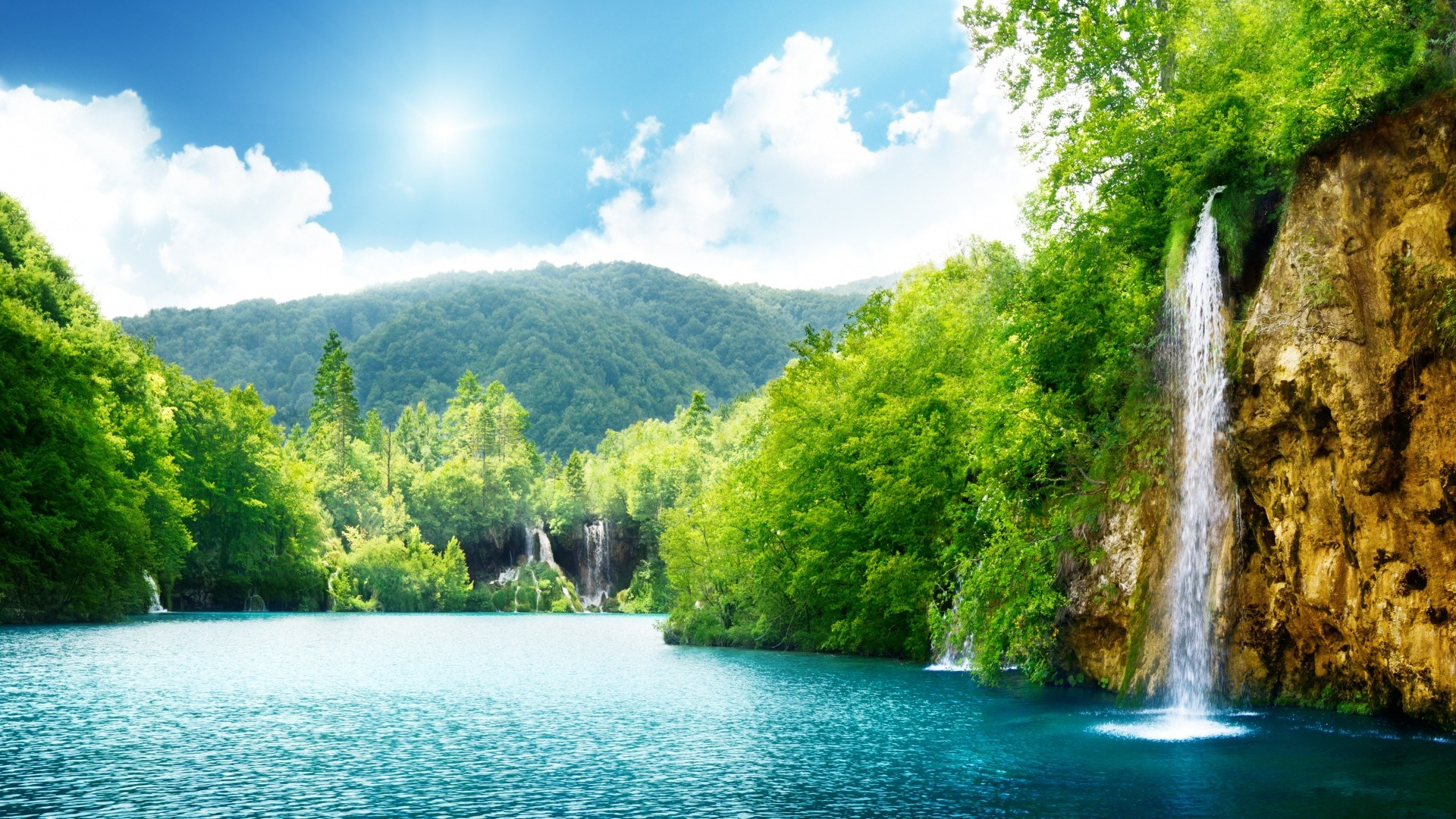 Natural Waterfall Summer Lake Trees Full HD Desktop 1920x1080