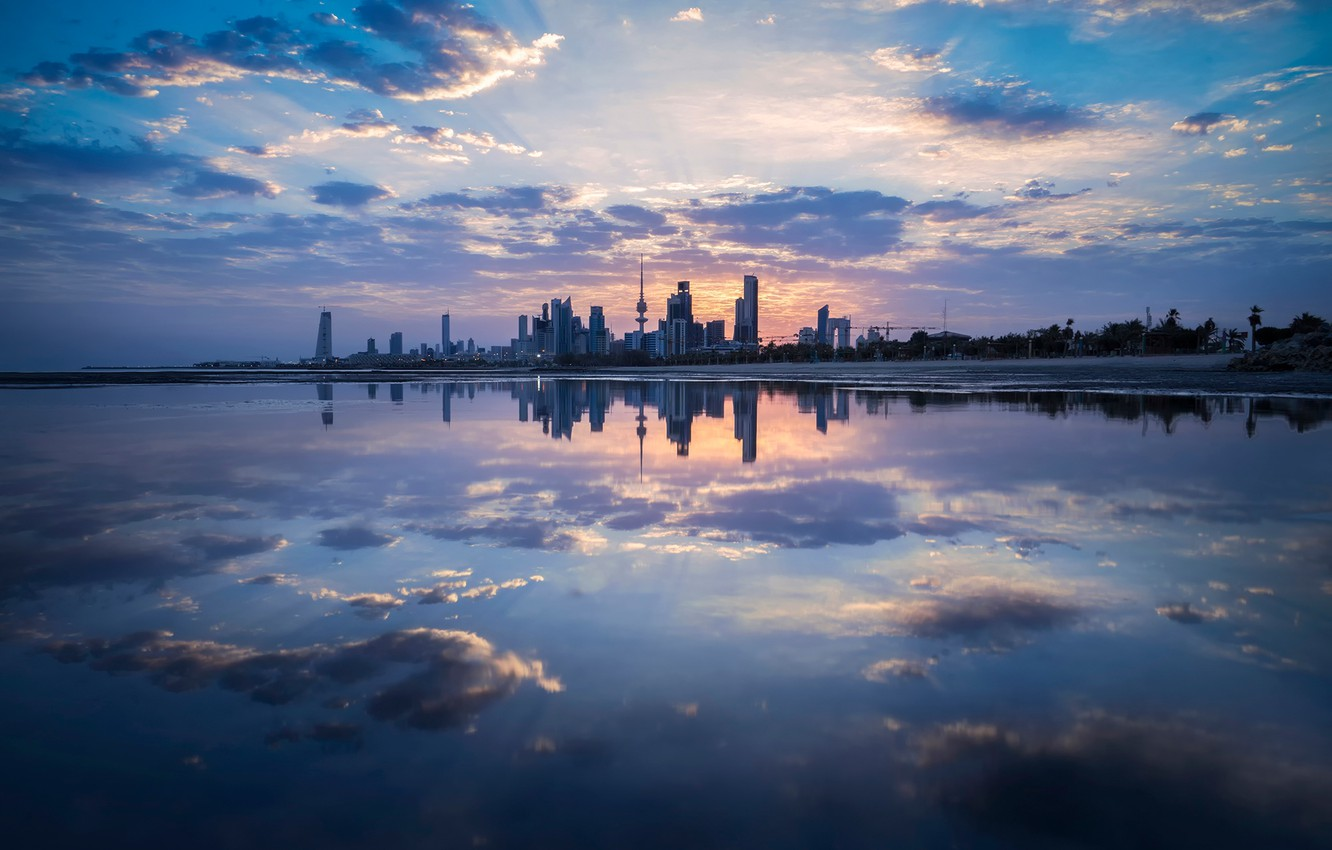 Wallpaper the city Kuwait City reflectionclouds images for 1332x850