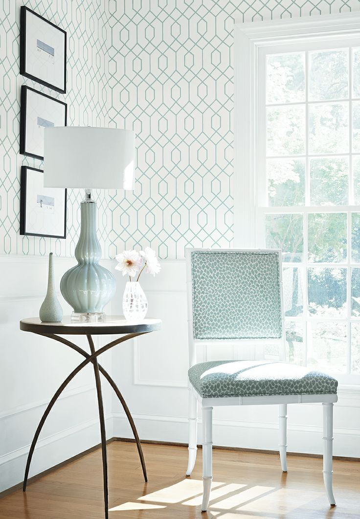 La Farge wallpaper in Aqua Darien Chair in Tanzania woven fabric in 736x1062