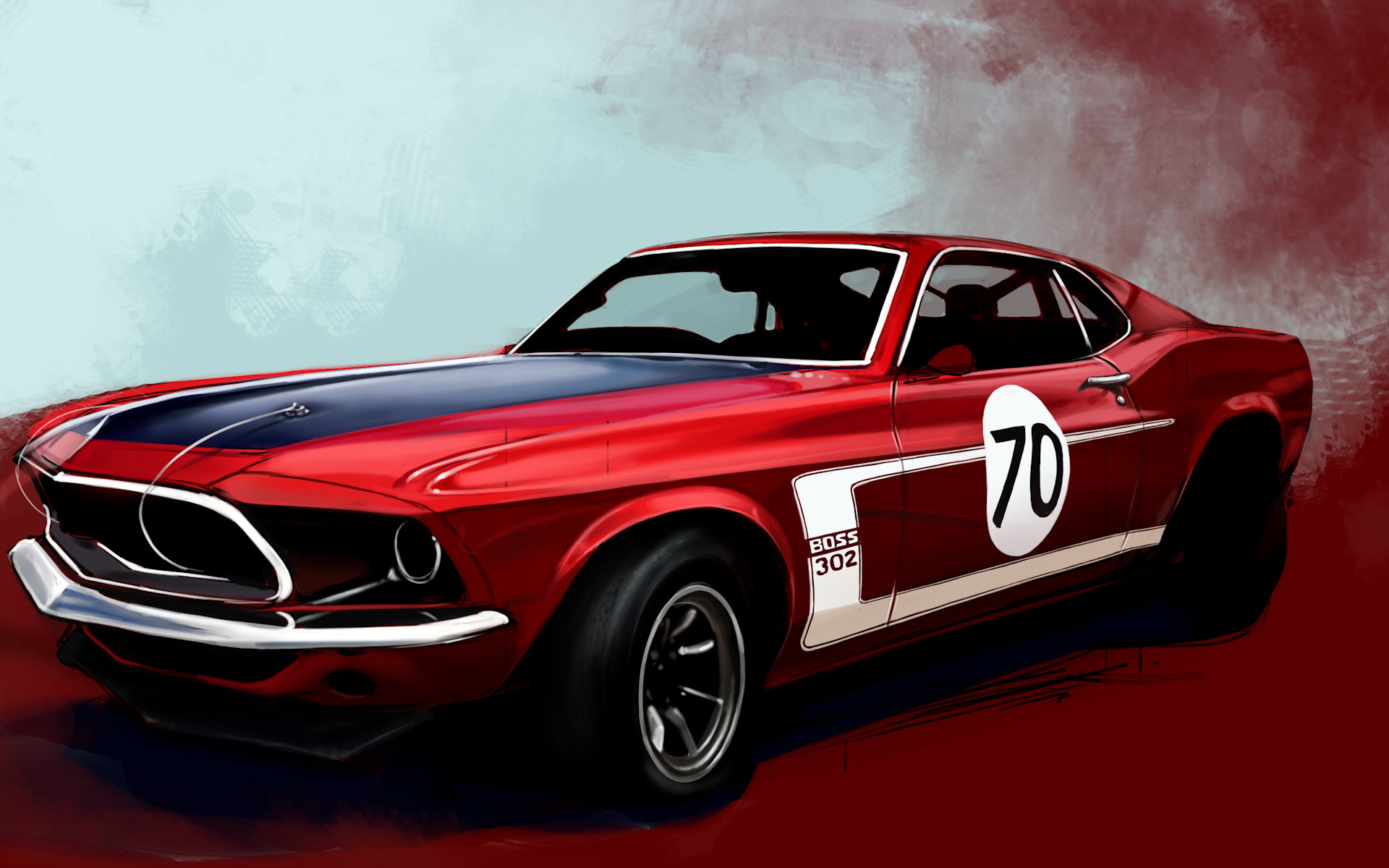 Drawn wallpapers Red sports car 013837 1920x1200