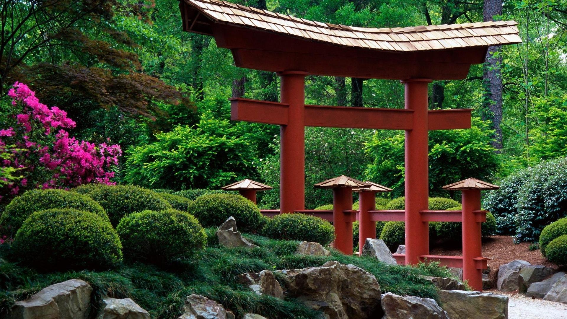 Nature Beautiful garden in the Japanese style HD Desktop Wallpaper 1920x1080