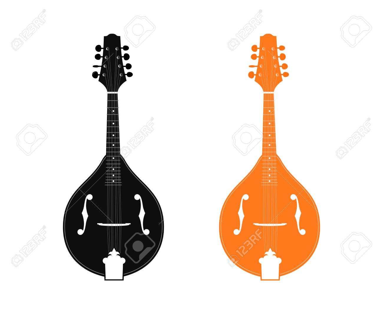 Silhouette Of Mandolin In Black And Orange Color Isolated On 1300x1062