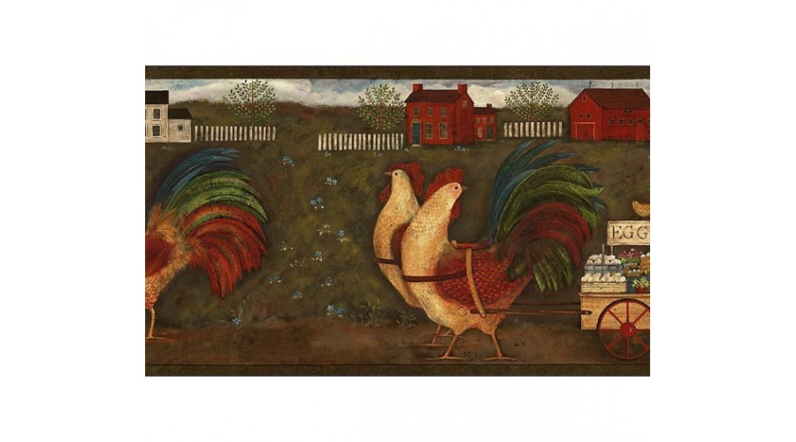 Home Rust Country Roosters Wallpaper Border 900x500