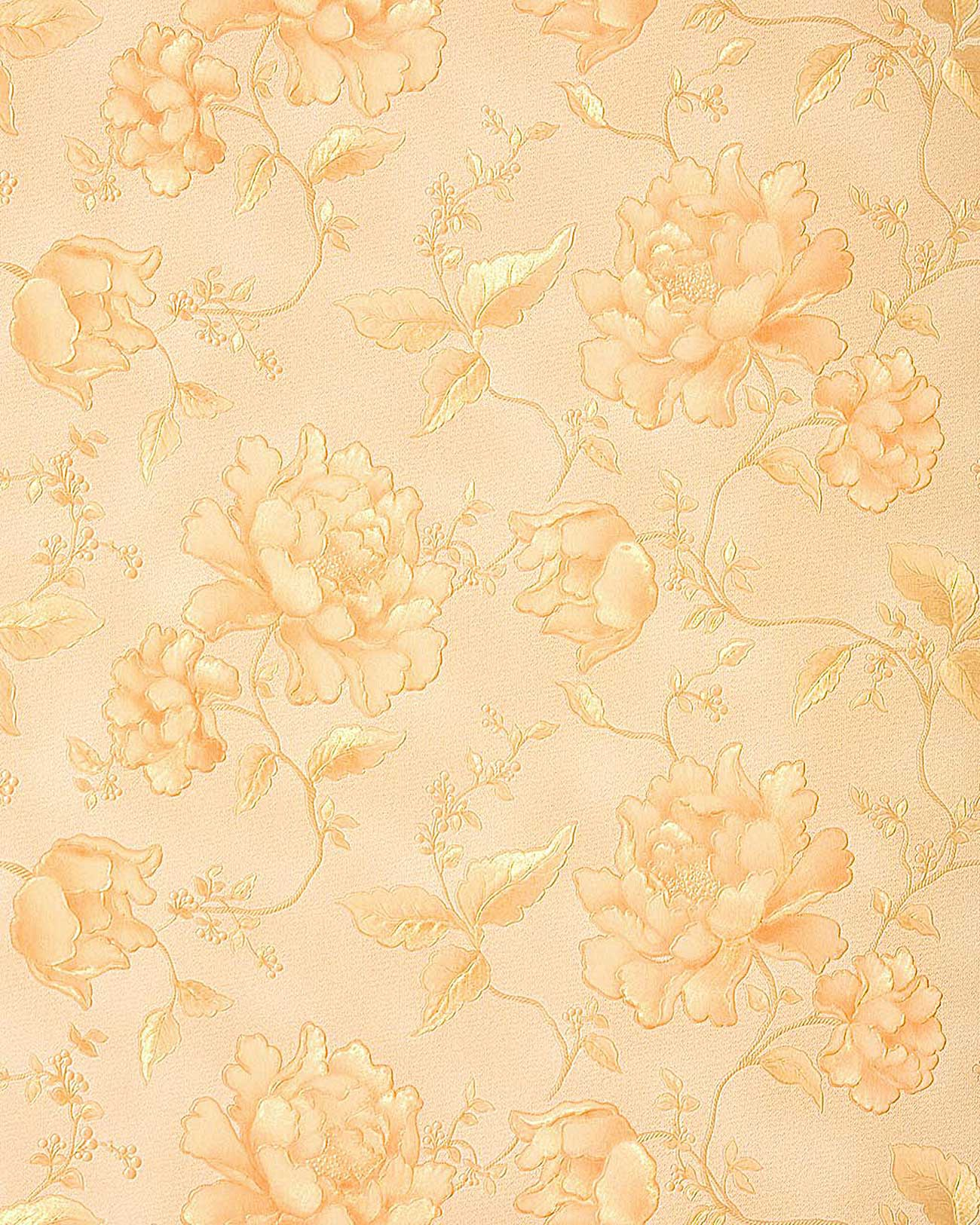 748 32 wallpaper heavyweight floral 3D look flower pastel yellow gold 1300x1625