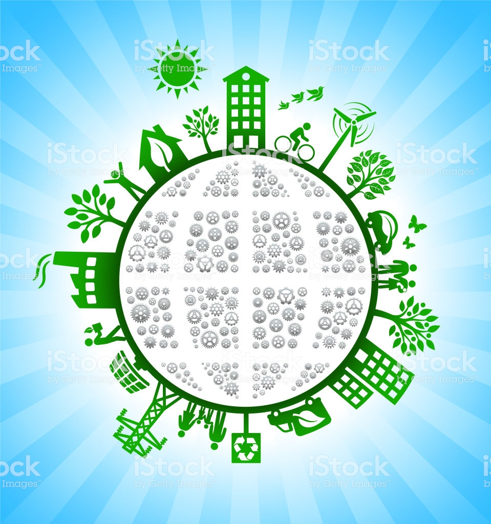 Planet Earth Gears Green Environmental Conservation Background 959x1024